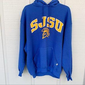 •- Russell SJSU Hoodie Sweatshirt Blue P0